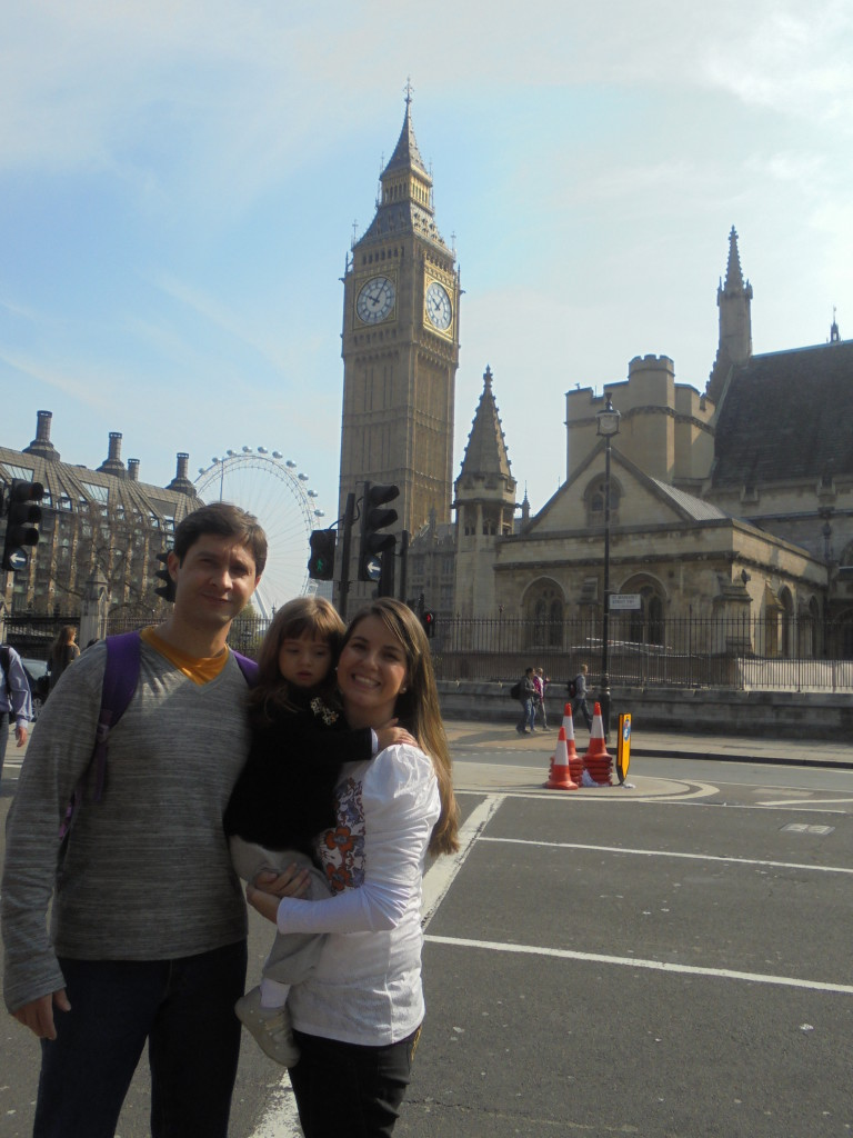 Ao fundo London Eye e Big Ben