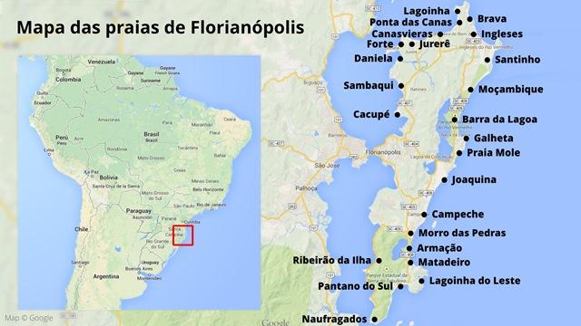 Mapa praias de Floripa